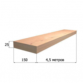 Доска обрезная 25х150х4500